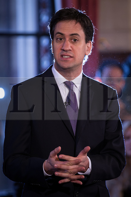 © Licensed to London News Pictures . 29/11/2013 . Manchester , UK . The leader of the Labour Party , ED MILIBAND , addresses an audience at Manchester Town Hall today (Friday 29th November 2013) . The British opposition leader is launching a green paper on energy. Photo credit : Joel Goodman/LNP