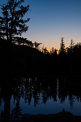 """Sunrise at Five Lakes 1"" - Photograph of a sunrise and reflection of pine trees at Five Lakes, Tahoe."