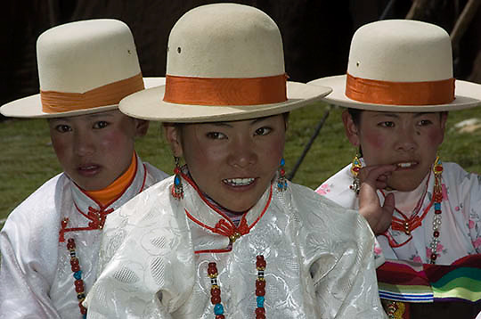 Local mountain village dress in traditional clothing (Drolma channel folk customs) Tibet. Asia.