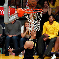 30 March 2018: Los Angeles Lakers guard Josh Hart (5) goes for the layup during the Milwaukee Bucks 124-122 victory over the LA Lakers, at the Staples Center, Los Angeles, California, USA.