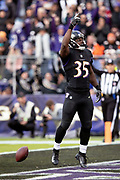 Baltimore Ravens rookie running back Gus Edwards (35) points skyward as he celebrates after running for a third quarter touchdown that ties the score at 21-21 during the NFL week 11 regular season football game against the Cincinnati Bengals on Sunday, Nov. 18, 2018 in Baltimore. The Ravens won the game 24-21. (©Paul Anthony Spinelli)