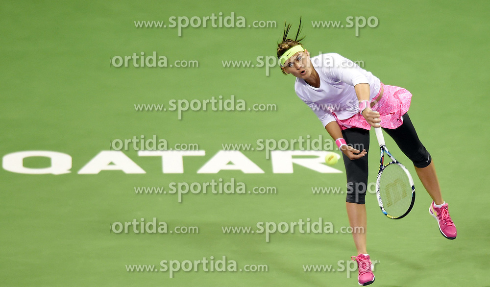 Lucie Safarova of the Czech Republic competes during the first round match against Samantha Stosur of Australia in the WTA Qatar Open tennis tournament in Doha, Qatar, Feb. 23, 2015. Lucie Safarova won 2-0. EXPA Pictures &copy; 2015, PhotoCredit: EXPA/ Photoshot/ Chen Shaojin<br /> <br /> *****ATTENTION - for AUT, SLO, CRO, SRB, BIH, MAZ only*****