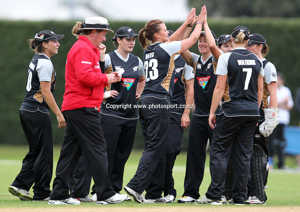 The White Ferns celebrate taking another wicket.<br /> Cricket - Rosebowl Series. Twenty20 International - New Zealand White Ferns v Australia, 18 February 2011, Queens Park, Invercargill, New Zealand.<br /> Photo: Rob Jefferies / www.photosport.co.nz