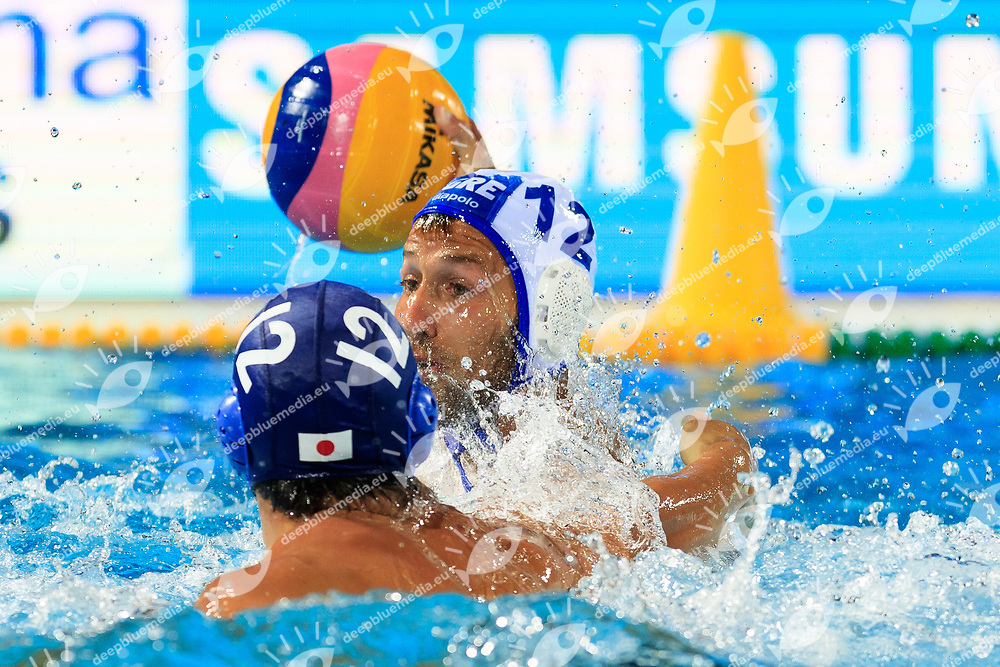 Angelos Vlachopoulos of Greece<br /> Greece  (white cap) -  Japan (blue cap)<br /> Preliminary Round Water Polo Women<br /> Day10  23/07/2017 <br /> XVII FINA World Championships Aquatics<br /> Alfred Hajos Complex Margaret Island  <br /> Budapest Hungary <br /> Photo @Deepbluemedia/Insidefoto Photo @Marcelterbals/Deepbluemedia/Insidefoto