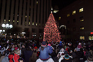 People gather round the tree as the countdown ends and the more than 100,000 lights are turned on during the Grande Illumination & Dayton Children's Parade Spectacular in Lights which begins the 39th Annual Dayton Holiday Festival in Courthouse Square in downtown Dayton, Friday, November 25, 2011.