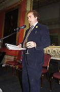 Alexander Waugh, Literary Review Bad Sex in Fiction Award. In and Out Club, St. James, Sq. 3 December 2003. © Copyright Photograph by Dafydd Jones 66 Stockwell Park Rd. London SW9 0DA Tel 020 7733 0108 www.dafjones.com