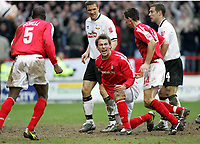 Photo: Paul Thomas. Nottingham Forest v Derby County. Forest Ground, Nottingham. Coca Cola Championship. 26/02/2005. Gareth Taylor gets up from scoring at putting forest ahead.