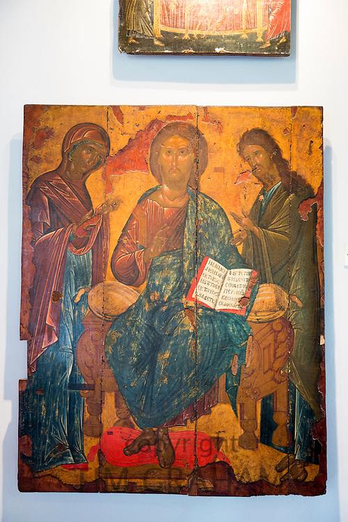 Ornate Greek Orthodox religious iconic painting of Jesus Christ in gallery at Paleokastritsa Monastery in Corfu, Greece