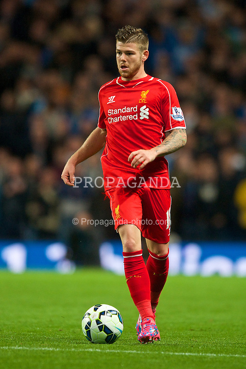 MANCHESTER, ENGLAND - Monday, August 25, 2014: Liverpool's Alberto Moreno in action against Manchester City during the Premier League match at the City of Manchester Stadium. (Pic by Chris Brunskill/Propaganda)