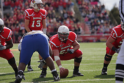 17 October 2009:  Cal McCarthy readies the ball as Matt Brown looks over the defense. The Indiana State Sycamores tumble to the Illinois State Redbirds 38-21 at Hancock Stadium on campus of Illinois State University in Normal Illinois