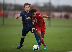 KIRKBY, ENGLAND - Saturday, January 26, 2019: Liverpool's Yasser Larouci (R) and Manchester United's Jimmy Garner during the FA Premier League match between Liverpool FC and Manchester United FC at The Academy. (Pic by David Rawcliffe/Propaganda)