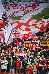 LIVERPOOL, ENGLAND - Wednesday, December 15, 2010: Liverpool supporters on the Spion Kop during the UEFA Europa League Group K match against FC Utrecht at Anfield. Fans on the Kop are known as Kopites. (Photo by: David Rawcliffe/Propaganda)