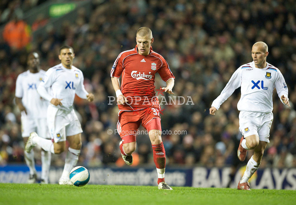 LIVERPOOL, ENGLAND - Wednesday, March 5, 2008: Liverpool's Martin Skrtel in action against West Ham United during the Premiership match at Anfield. (Photo by David Rawcliffe/Propaganda)