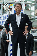 Journalist Shuntaro Torigoe, a major candidate for Tokyo kicks off his campaign for the July 31 Tokyo gubernatorial election in front of the station of Kita-Senju, Japan on Thursday, July 16 2016. <br /> Torigoe has the joint backing of opposition parties including the Democratic Party and the Japanese Communist Party in the July 31 election. 16/07/2016-TOKYO, JAPAN