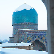 Snow on the Silk Road: view from a minaret at the Registan in Samarkand, daybreak. Feb 5-6, 2014 saw a rare sustained snowy period in Samarkand, Uzbekistan, breaking record lows and resulting in school closures and power outages