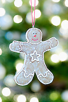 Gingerbread man hanging against Christmas lights