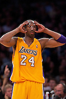 16 March 2012: Guard Kobe Bryant of the Los Angeles Lakers adjusts his face mask while playing against the Minnesota Timberwolves during the first half of the Lakers 97-92 victory over the Timberwolves at the STAPLES Center in Los Angeles, CA.