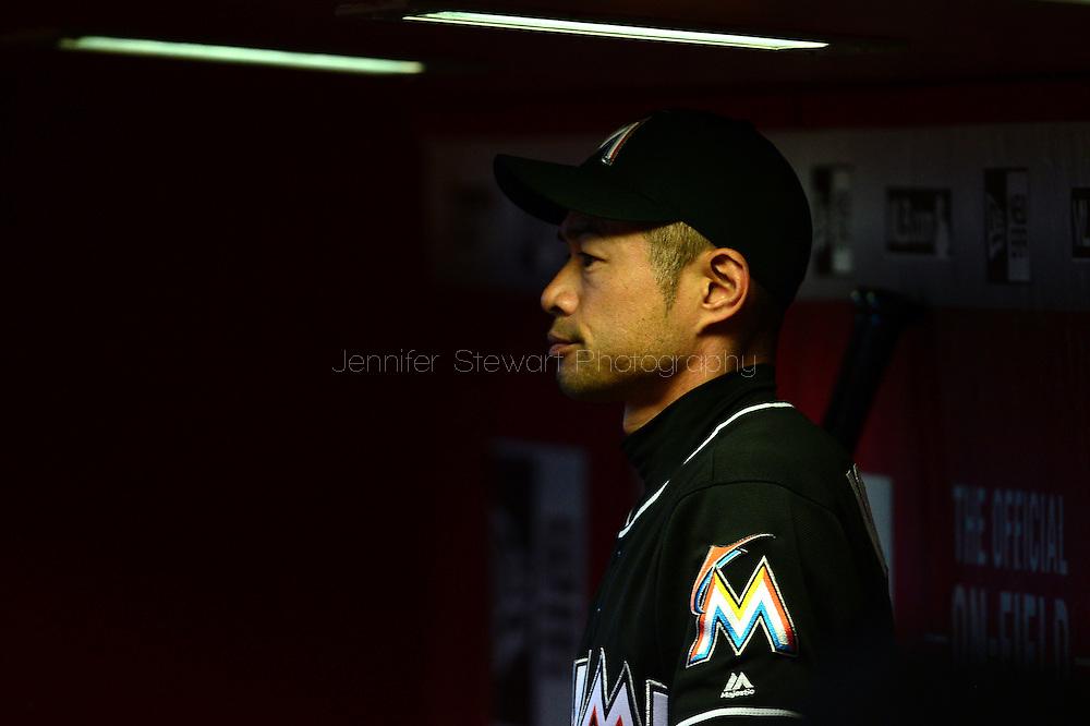 PHOENIX, AZ - JUNE 12:  Ichiro Suzuki #51 of the Miami Marlins watches the game from the dugout in the eighth inning against the Arizona Diamondbacks at Chase Field on June 12, 2016 in Phoenix, Arizona.  The Arizona Diamondbacks won 6-0.  (Photo by Jennifer Stewart/Getty Images)