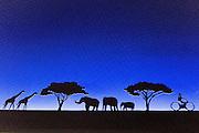 Silhouette of animals, plants and people at Japan pavilion in Expo 2015, Rho-Pero, Milan, July 2015. &copy; Carlo Cerchioli<br /> <br /> Silhouette di animali, piante e persone al padiglione del Giappone a Expo 2015, Rho-Pero, Milano luglio 2015.