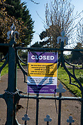 A closed sign on a locked gate of Cheriton cemetery on the 10th of April 2020,  in Folkestone, United Kingdom. All memorial grounds in the UK have been closed to the public to stop the spread of COVID - 19 with the exception of funerals with immediate family members.  (photo by Andrew Aitchison / In pictures via Getty Images)
