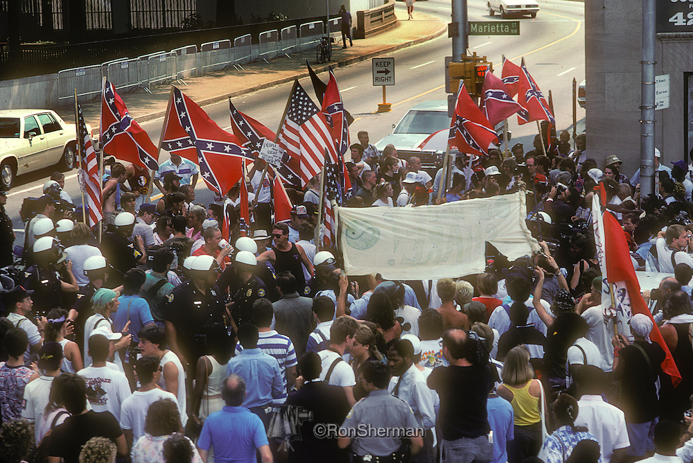 Ku Klux Klan Protest Rally in 1988 at Democratic National Convention in downtown Atlanta GA