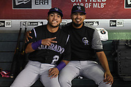 PHOENIX, AZ - SEPTEMBER 14:  Alexi Amarista and German Marquez #48 of the Colorado Rockies pose for a photo prior to the MLB game against the Arizona Diamondbacks at Chase Field on September 14, 2017 in Phoenix, Arizona.  (Photo by Jennifer Stewart/Getty Images)
