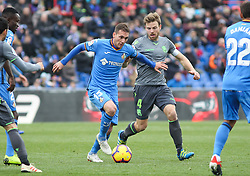 December 15, 2018 - Getafe, Madrid, Spain - Cristoforo of Getafe and Ilarra of Real Sociedad in action during La Liga Spanish championship, , football match between Getafe and Real Sociedad, December 15, in Coliseum Alfonso Perez in Getafe, Madrid, Spain. (Credit Image: © AFP7 via ZUMA Wire)