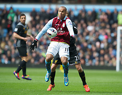 BIRMINGHAM, ENGLAND - Easter Sunday, March 31, 2013: Aston Villa's Gabriel Agbonlahor in action against Liverpool during the Premiership match at Villa Park. (Pic by David Rawcliffe/Propaganda)