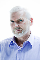 caucasian senior man portrait mistrust isolated studio on white background