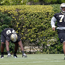 June 5, 2012; Metairie, LA, USA; New Orleans Saints rookie defensive tackles Akiem Hicks (76) and Tyrunn Walker (75) during a minicamp session at the team's practice facility. Mandatory Credit: Derick E. Hingle-US PRESSWIRE