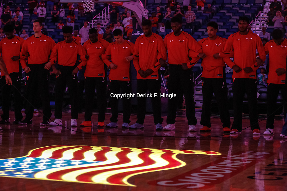 Oct 3, 2017; New Orleans, LA, USA; Chicago Bulls players lock arms together during the performance of the national anthem before a NBA preseason game against the New Orleans Pelicans at the Smoothie King Center. Mandatory Credit: Derick E. Hingle-USA TODAY Sports