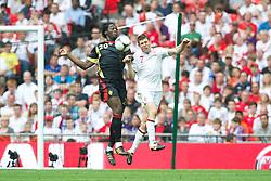 LONDON, ENGLAND - Saturday, June 2, 2012: England's James Milner in action against Belgium's Romelu Lukaku during the International Friendly match at Wembley. (Pic by David Rawcliffe/Propaganda)