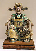 Figure, possibly the God of Wealth in his Military Aspect    late 17th–early 18th century. Qing dynasty, Kangxi period (1662–1722). Porcelain painted in famille verte enamels on the biscuit