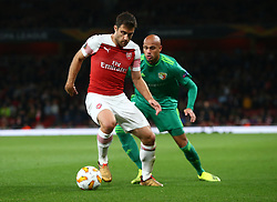 September 20, 2018 - London, England, United Kingdom - L-R Arsenal's Sokratis Papastathopoulos and Nicolas Careca of FC Vorskla Poltava .during UAFA Europa League Group E between Arsenal and FC Vorskla Poltava at Emirates stadium , London, England on 20 Sept 2018. (Credit Image: © Action Foto Sport/NurPhoto/ZUMA Press)