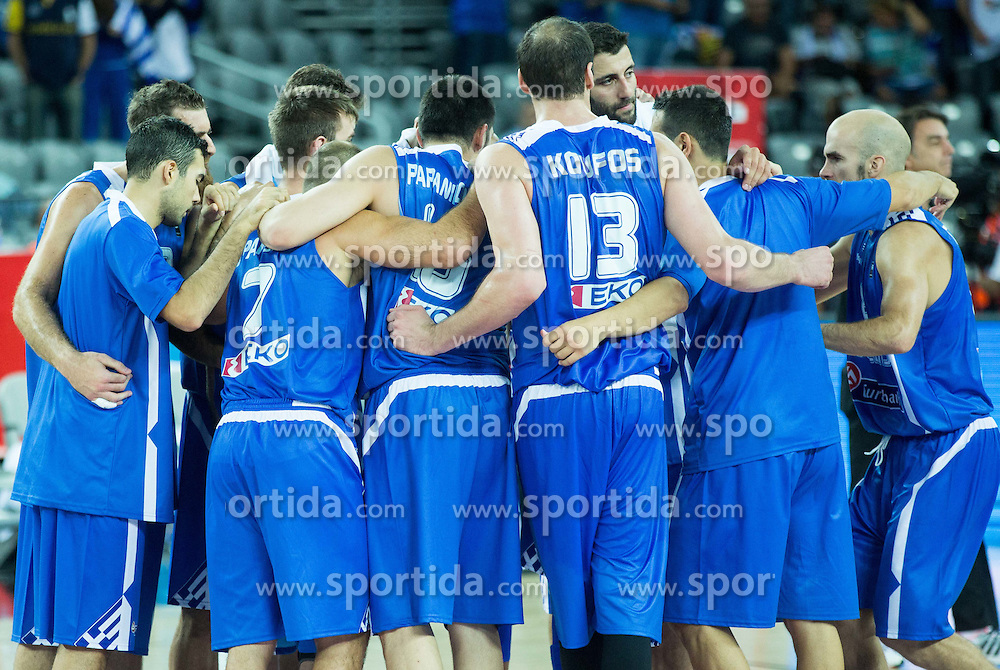 Players of Greece after winning during basketball match between FYR of Macedonia and Greece at Day 1 in Group C of FIBA Europe Eurobasket 2015, on September 5, 2015, in Arena Zagreb, Croatia. Photo by Vid Ponikvar / Sportida