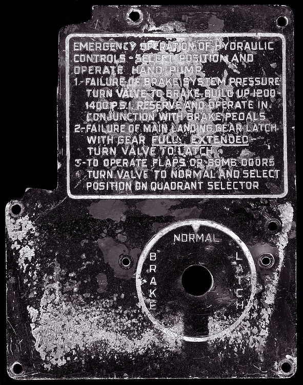"""Hydraulic control panel from a restored B-25, """"Wild Cargo"""".  Given to me by David Posey.  Now owned by the Fighter Factory and Jerry Yagen in Virginia."""