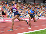 Mo Farah aka Mohamed Farah (GBR) and Mathew Kimeli (KEN) place first and second in the 10,000m in 27:12.09 and 27:14.43 during the 56th Ostrava Golden Spike in an IAAF World Challenge meeting at Mestky Stadion in Ostrava, Czech Republic on Wednesday, June 28, 20017. (Jiro Mochizuki/Image of Sport)