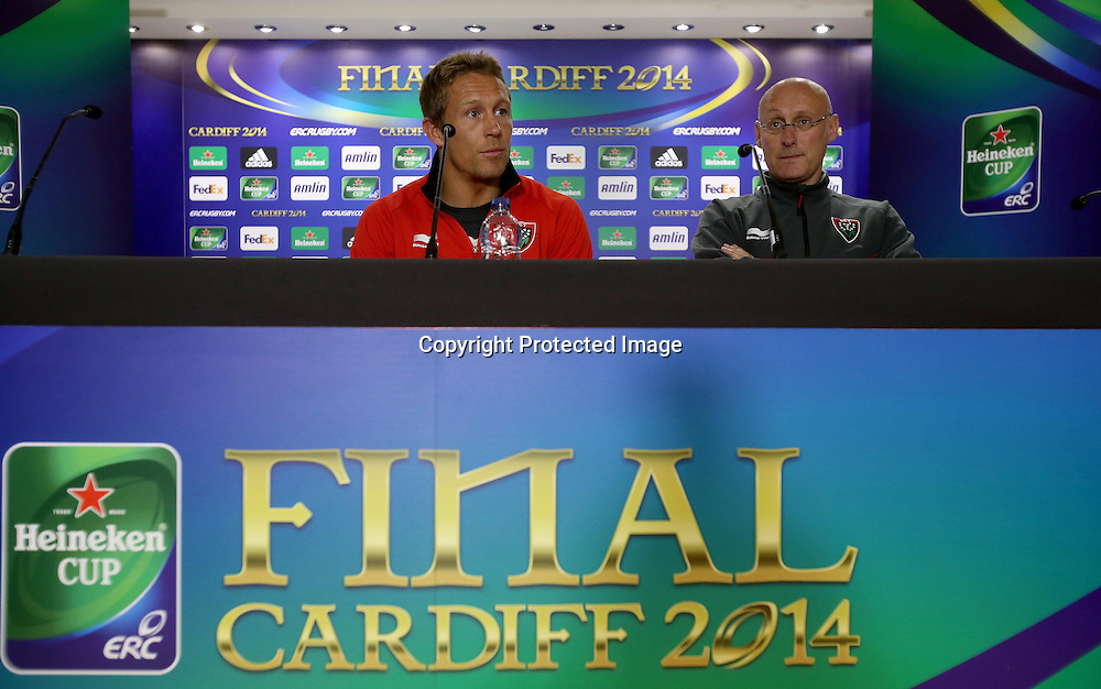 Toulon Press Conference, Millennium Stadium, Wales 23/5/2014<br /> Jonny Wilkinson and head coach Bernard Laporte  <br /> Mandatory Credit &copy;INPHO/Dan Sheridan