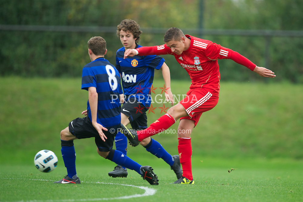 LIVERPOOL, ENGLAND - Friday, October 14, 2011: Liverpool's Kristoffer Peterson in action against Manchester United during the FA Premier League Academy match at the Kirkby Academy. (Pic by David Rawcliffe/Propaganda)
