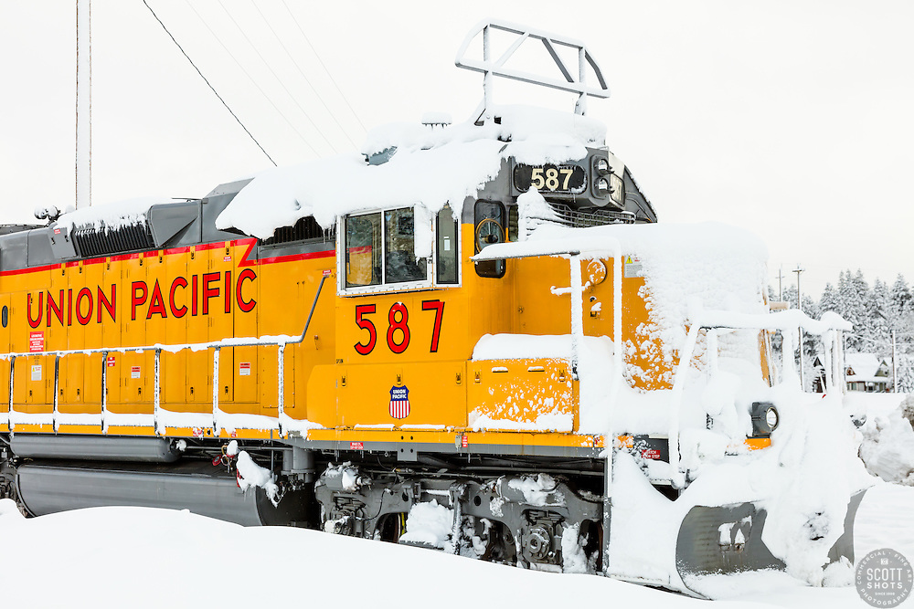 """Train in Snowy Truckee 3"" - Photograph of a snow covered Union Pacific train in historic Downtown Truckee, shot in the morning after a big snow storm."
