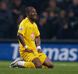MANCHESTER, ENGLAND - Tuesday, December 18, 2007: Tottenham Hotspur's Didier Zakora looks dejected as he is sent off against Manchester City during the League Cup Quarter Final match at the City of Manchester Stadium. (Photo by David Rawcliffe/Propaganda)