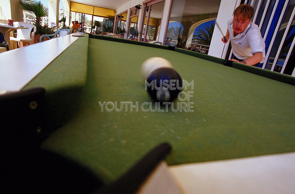 Playing pool, Ibiza, June 2001