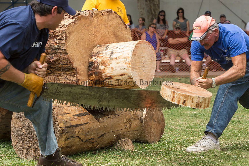 June 28, 2015<br /> EYLER HARRISON (L) and his father, GEORGE HARRISON (R), of Grass Valley, California, compete together in one of the many contests at the 66th Annual Tuolumne Lumber Jubilee in Tuolumne City, California.