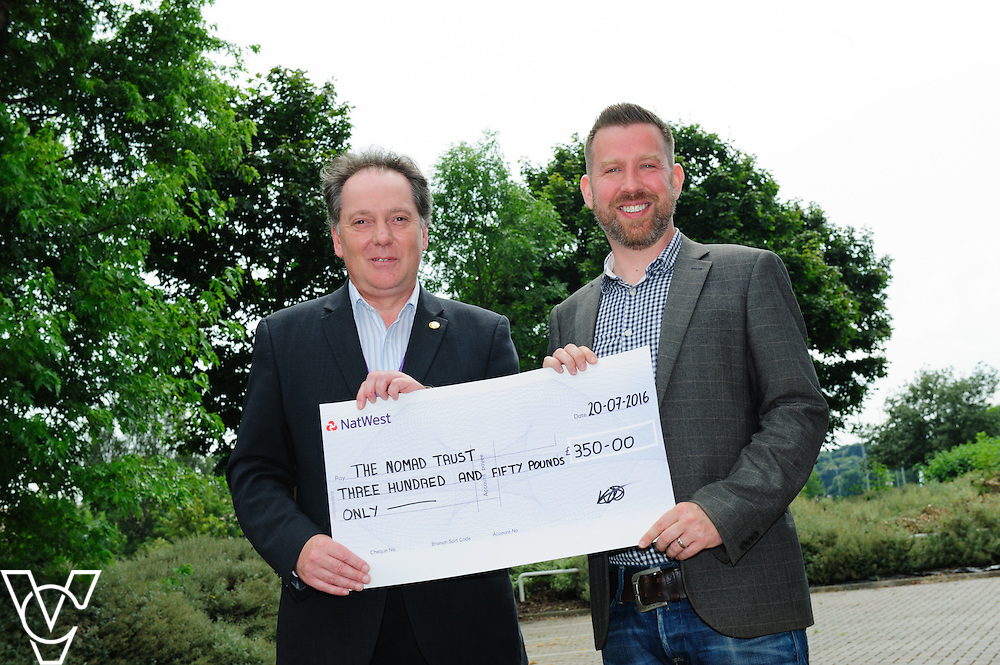 Lincoln Business Club has presented a cheque for &pound;350 to the Nomad Trust.  Pictured is, from left, Lincoln Business Club chairman Mark Jarvis and Nomad Trust Business Development manager Simon Nicoll.<br /> <br /> Picture: Chris Vaughan/Chris Vaughan Photography<br /> Date: July 20, 2016