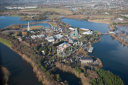 © London News Pictures. 10/02/2014.  Chertsey, UK.  Aerial view showing Thorpe Park Resort in  Chertsey, Surrey.  Photo credit : Ben Cawthra/LNP