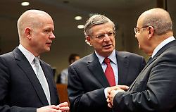 British Foreign Secretary William Hague talks with EU commissioner Tonio Borg and Maltese Foreign Minister Francis Zammit Dimech (L to R) prior to an EU foreign ministers meeting at EU headquarters in Brussels, capital of Belgium, on Jan. 31, 2013.. The Foreign Ministers Meeting will discuss the situation in the EU s southern neighbourhood, in particular in Syria and Egypt, and will prepare the forthcoming European Council debate on the Arab Spring. , January 31, 2013. Photo by Imago / i-Images..UK ONLY