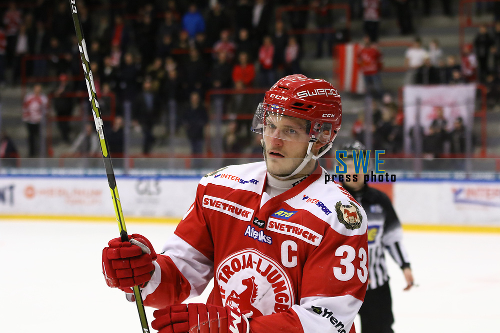 2020-02-12 | Ljungby, Sweden: Troja-Ljungby (33) Daniel Karlsson during the game between IF Troja / Ljungby and Huddinge IK at Ljungby Arena ( Photo by: Fredrik Sten | Swe Press Photo )<br /> <br /> Keywords: Ljungby, Icehockey, HockeyEttan, Ljungby Arena, IF Troja / Ljungby, Huddinge IK, fsth200212, ATG HockeyEttan, Allettan
