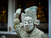 "11 SEPTEMBER 2017 - BANGKOK, THAILAND: Chinese statues that came to Siam in the 18th and 19th centuries as ballast in Chinese traders sailing ships in the courtyard at Wat Arun. Renovations are nearly finished at Wat Arun on the Thonburi side of the Chao Phraya River in Bangkok. Wat Arun is famous for its Khmer style main ""prang"" (chedi). It was originally built in the Ayutthaya Period and rebuilt to its current form in the time of Rama II.      PHOTO BY JACK KURTZ"