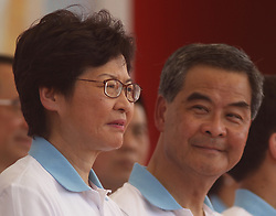 June 28, 2017 - Hong Kong, CHINA - HKSAR Chief Executive Officer to-be, Carrie Lam ( L ) and current CEO who will be leaving the office in two days time officiate opening of the Chinese Aeronautics Show as a part of Hong Kongs HANDOVER celebration. June 28, 2017.Hong Kong.ZUMA/Liau Chung Ren (Credit Image: © Liau Chung Ren via ZUMA Wire)