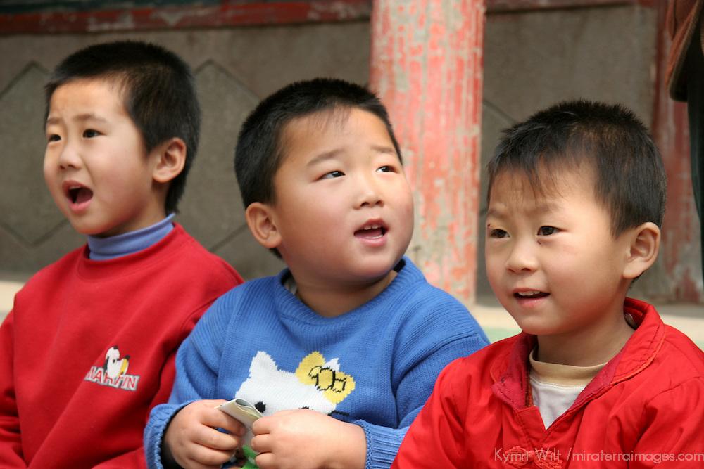 Asia, China, Beijing. Kindergarten children singing